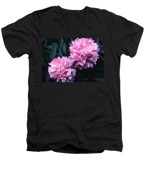 Men's V-Neck T-Shirt featuring the photograph Pink Peony Pair by Tom Wurl