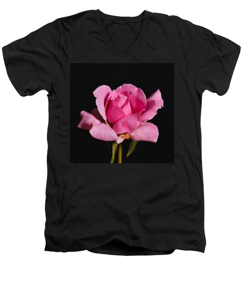 Pink Tea Rose Men's V-Neck T-Shirt