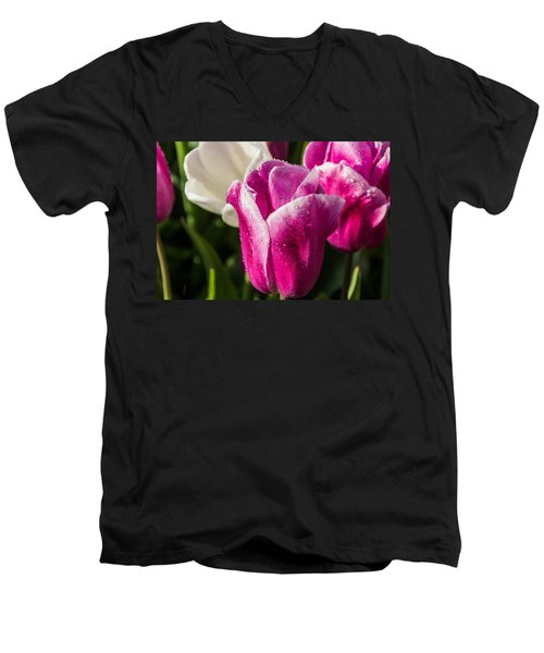 Men's V-Neck T-Shirt featuring the photograph Pink Tulip by David Gleeson