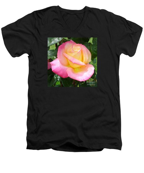 Pink Yellow Beauty Men's V-Neck T-Shirt by Tanya  Searcy