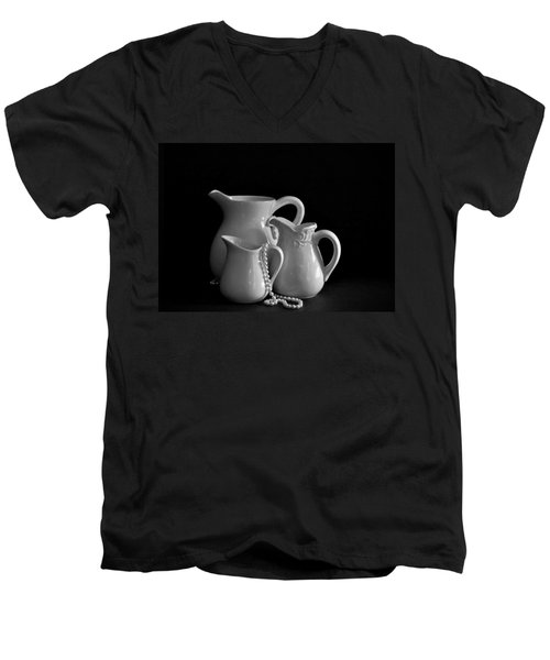 Pitchers By The Window In Black And White Men's V-Neck T-Shirt