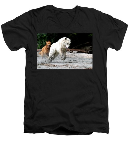 Play Time On The Beach Men's V-Neck T-Shirt