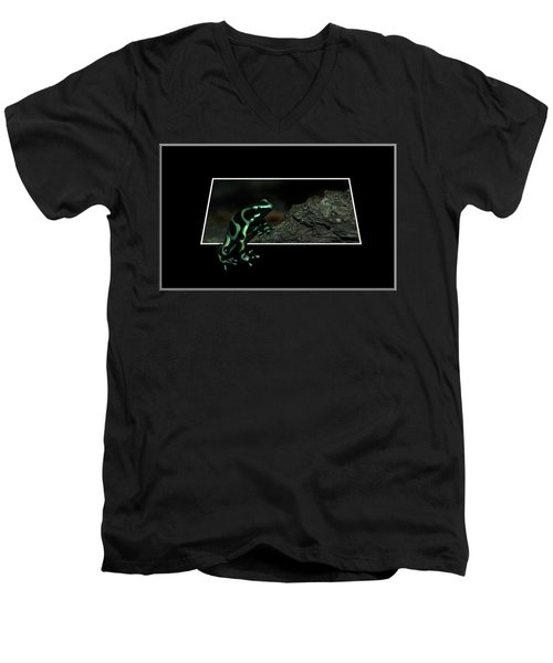 Poisonous Green Frog 02 Men's V-Neck T-Shirt by Thomas Woolworth