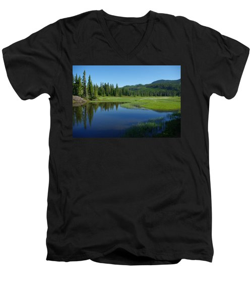 Pond Reflection Men's V-Neck T-Shirt by Marilyn Wilson