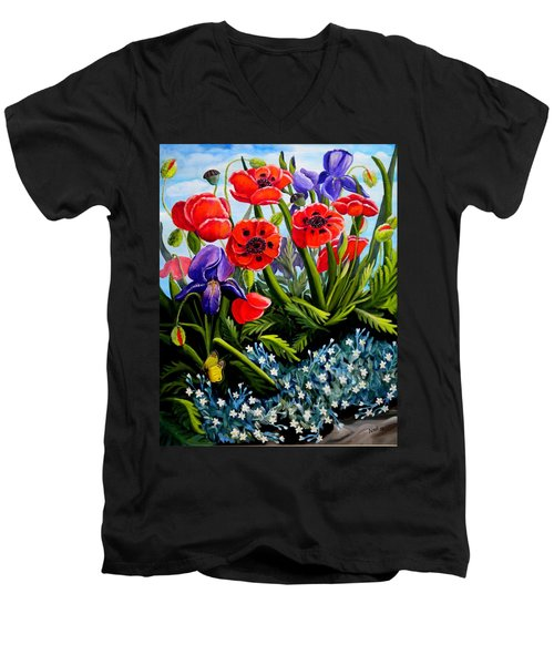 Poppies And Irises Men's V-Neck T-Shirt by Renate Nadi Wesley