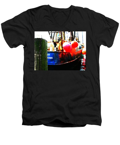 Men's V-Neck T-Shirt featuring the photograph Port Of Galilee Number 1 by Lon Casler Bixby