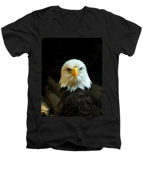 Men's V-Neck T-Shirt featuring the photograph Portrait American Bald Eagle by Randall Branham