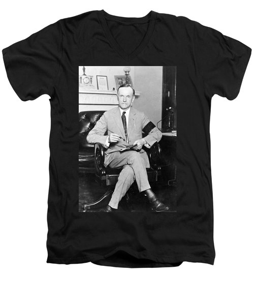 President Calvin Coolidge Men's V-Neck T-Shirt by International  Images