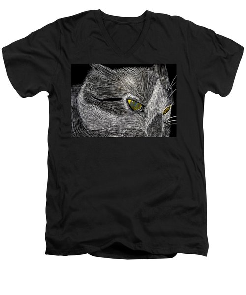 Men's V-Neck T-Shirt featuring the drawing Prowl by Lisa Brandel