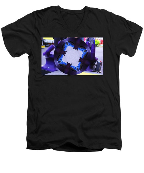 Men's V-Neck T-Shirt featuring the photograph Purple Magic Fingers Chair by Kym Backland