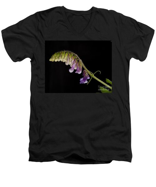 Men's V-Neck T-Shirt featuring the photograph Purple Vetch by Art Whitton