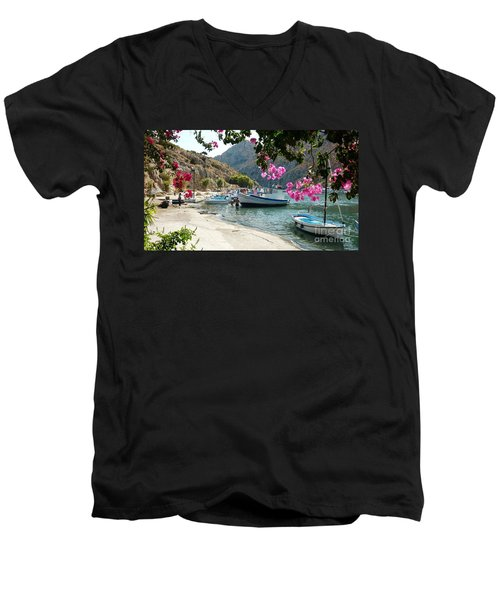 Men's V-Neck T-Shirt featuring the photograph Quiet Cove by Therese Alcorn