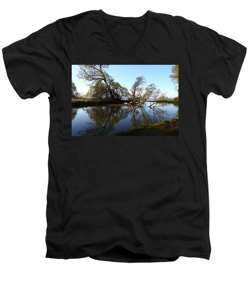 Men's V-Neck T-Shirt featuring the photograph Quiet Reflection by Davandra Cribbie