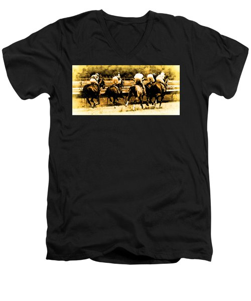 Men's V-Neck T-Shirt featuring the photograph Race To The Finish Line by Alice Gipson