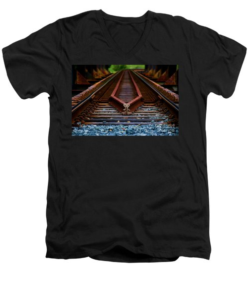 Railway Track Leading To Where Men's V-Neck T-Shirt