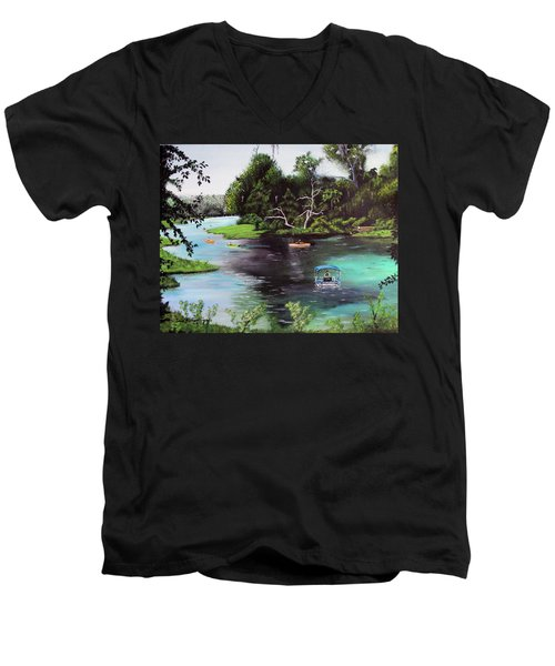 Rainbow Springs In Florida Men's V-Neck T-Shirt by Luis F Rodriguez