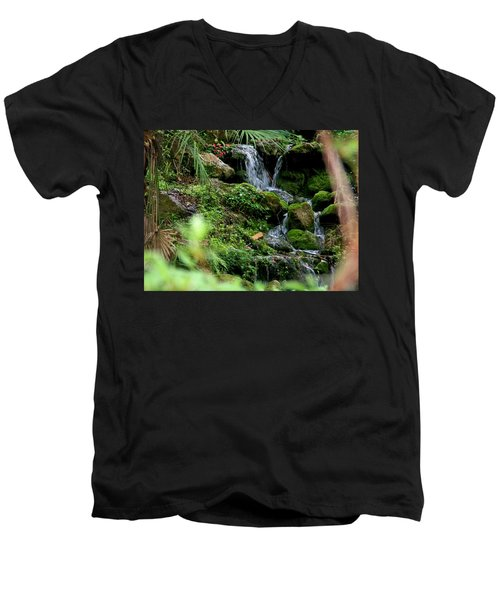 Rainbow Springs Waterfall Men's V-Neck T-Shirt by Judy Wanamaker