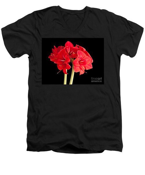 Men's V-Neck T-Shirt featuring the photograph Red Amaryliss by Les Palenik