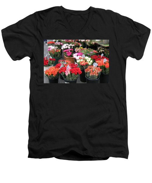 Men's V-Neck T-Shirt featuring the photograph Red Flowers In French Flower Market by Carla Parris