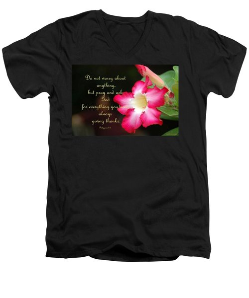 Men's V-Neck T-Shirt featuring the photograph Red Hibiscus by Cynthia Amaral