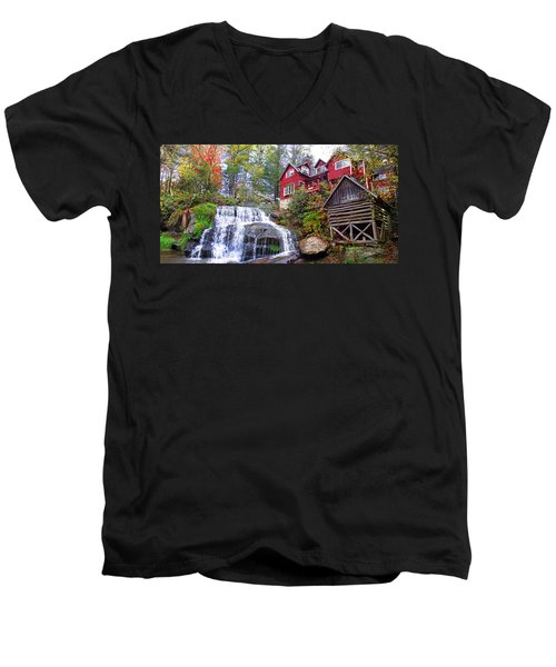 Red House By The Waterfall 2 Men's V-Neck T-Shirt