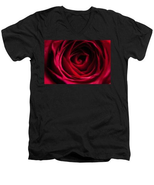 Men's V-Neck T-Shirt featuring the photograph Red Rose by Matt Malloy