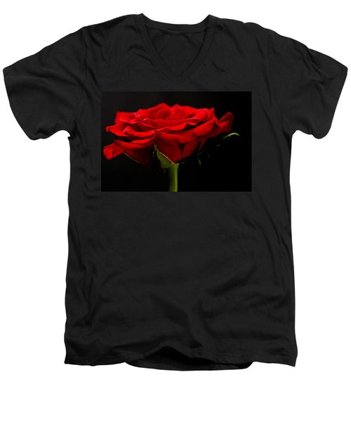 Men's V-Neck T-Shirt featuring the photograph Red Rose by Steve Purnell