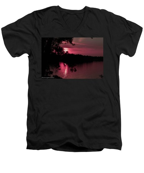 Red Sky At Night Men's V-Neck T-Shirt by Shannon Harrington