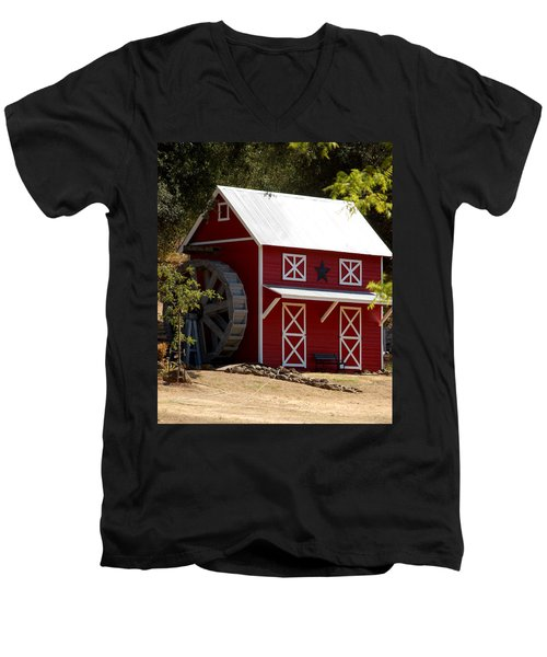 Red Star Barn Men's V-Neck T-Shirt by Holly Blunkall
