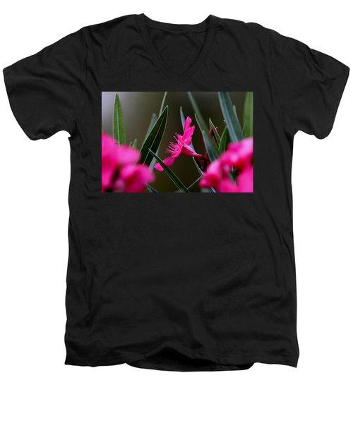 Red Flower Men's V-Neck T-Shirt by Travis Truelove