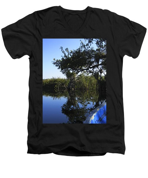 Men's V-Neck T-Shirt featuring the photograph Reflection Of Arched Branches by Anne Mott