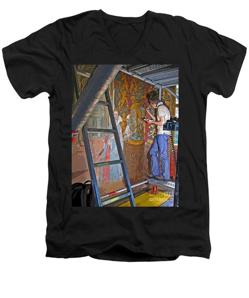 Men's V-Neck T-Shirt featuring the photograph Restoring Art by Ann Horn
