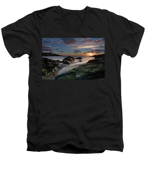 Men's V-Neck T-Shirt featuring the photograph Rhosneigr Sunset  by Beverly Cash