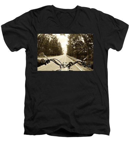 Riders Eye Veiw In Sepia Men's V-Neck T-Shirt