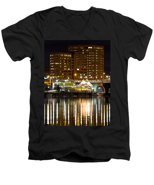 River Front At Night Men's V-Neck T-Shirt