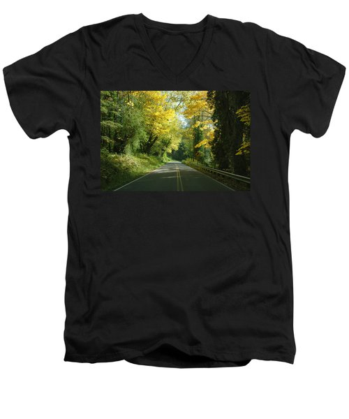 Road Through Autumn Men's V-Neck T-Shirt