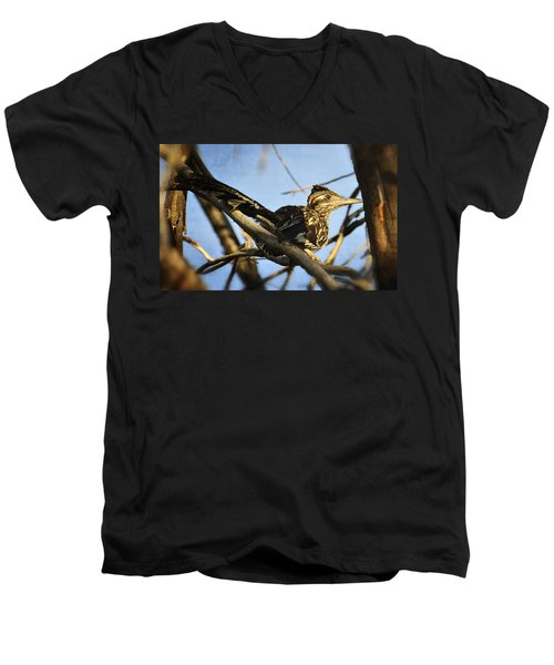 Roadrunner Up A Tree Men's V-Neck T-Shirt by Saija  Lehtonen