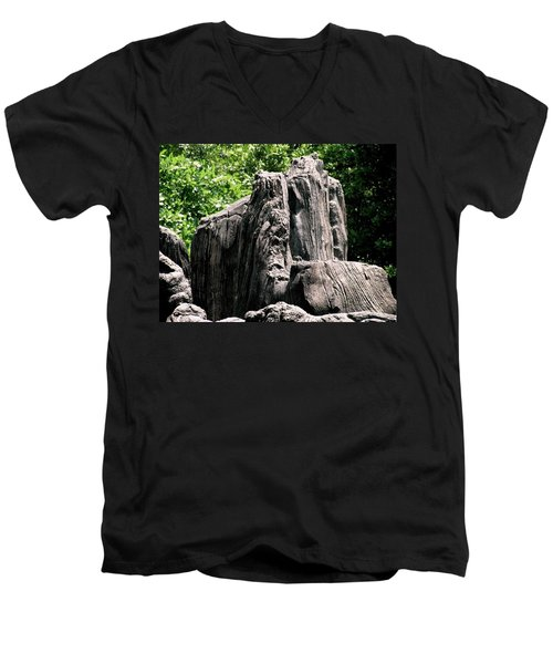 Men's V-Neck T-Shirt featuring the photograph Rock Formation by Maria Urso