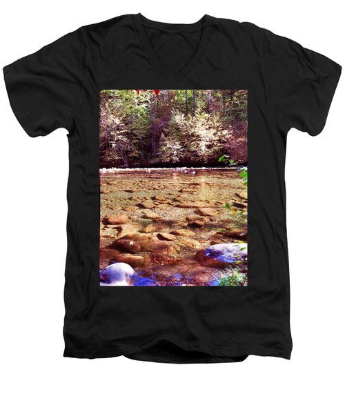 Men's V-Neck T-Shirt featuring the photograph Rock Work by Janice Spivey