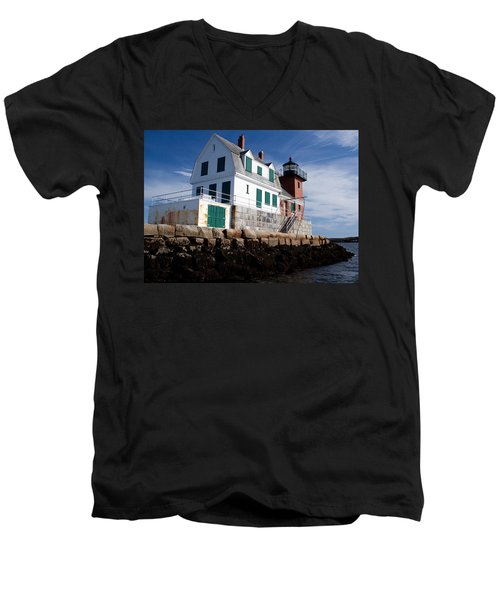 Rockland Breakwater Lighthouse Men's V-Neck T-Shirt