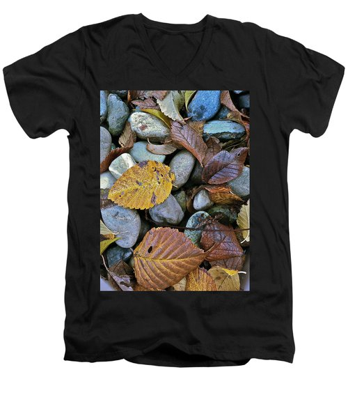 Men's V-Neck T-Shirt featuring the photograph Rocks And Leaves by Bill Owen