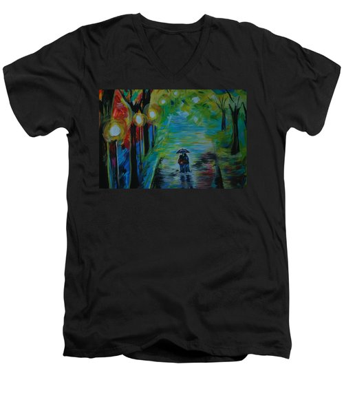 Men's V-Neck T-Shirt featuring the painting Romantic Stroll Series 1 by Leslie Allen
