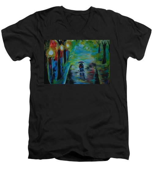 Men's V-Neck T-Shirt featuring the painting Romantic Stroll Series II by Leslie Allen