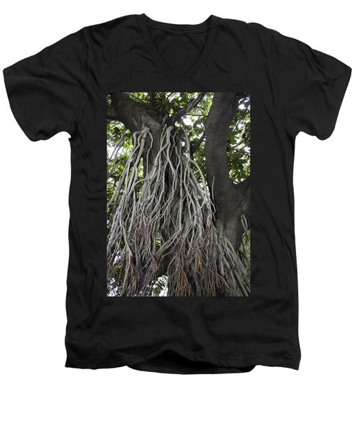 Roots From A Large Tree Inside Jallianwala Bagh Men's V-Neck T-Shirt by Ashish Agarwal