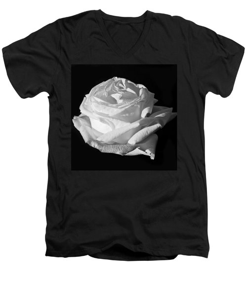 Men's V-Neck T-Shirt featuring the photograph Rose Silver Anniversary Monochrome by Steve Purnell