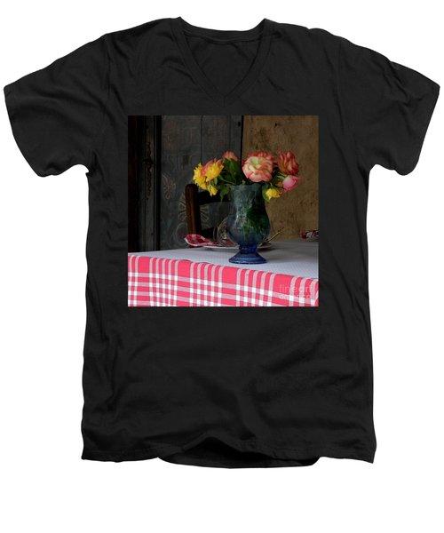 Roses In Blue Glass Vase Men's V-Neck T-Shirt by Lainie Wrightson