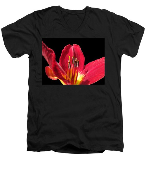 Men's V-Neck T-Shirt featuring the photograph Royal Red by Debbie Portwood