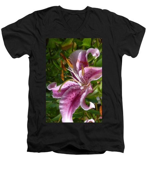 Men's V-Neck T-Shirt featuring the photograph Rubrum Lily by Carla Parris