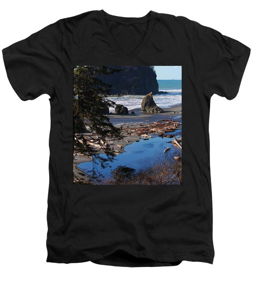 Ruby Beach IIi Men's V-Neck T-Shirt by Jeanette C Landstrom