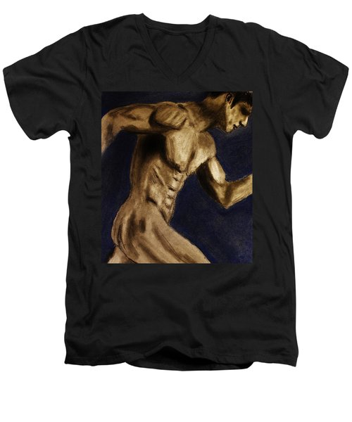 Men's V-Neck T-Shirt featuring the drawing Running Man by Michael Cross